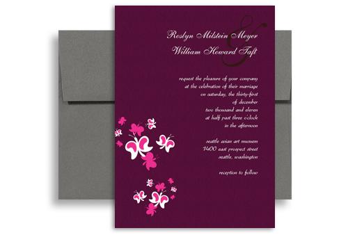 Purple Erfly Orchid Blank Wedding Invitation 5x7 In Vertical