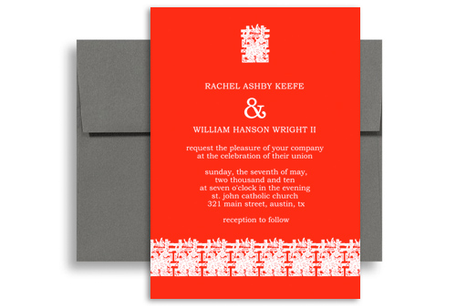 Modern Asian Chinese Personalized Wedding Invitation 5x7 In Vertical