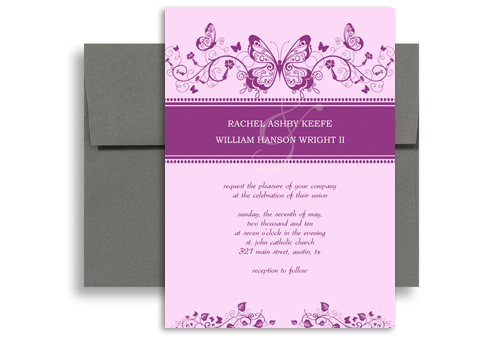Purple White Erfly Printable Wedding Invitation 5x7 In