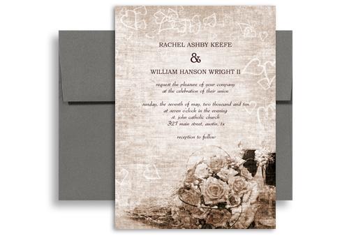 Clic Traditional Roses Wedding Invitation Design 5x7 In