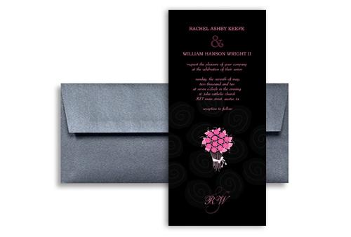 Hot Pink On Black Roses Wedding Invitation Design 4x9 In