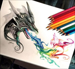 pencil drawings amazing drawing colour lucky978 lipscomb katy deviantart breath colorful dragon 3d animal cool designbolts tattoos head 2744 desde