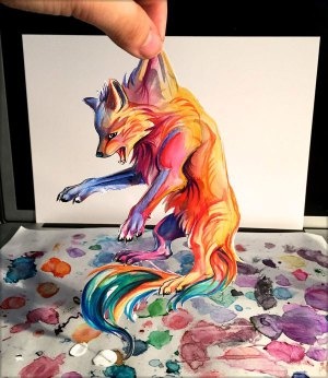 drawings amazing pencil drawing lipscomb katy colour artwork colored watercolor wolf colorful rainbow marker drop don 3d furry deviantart fox