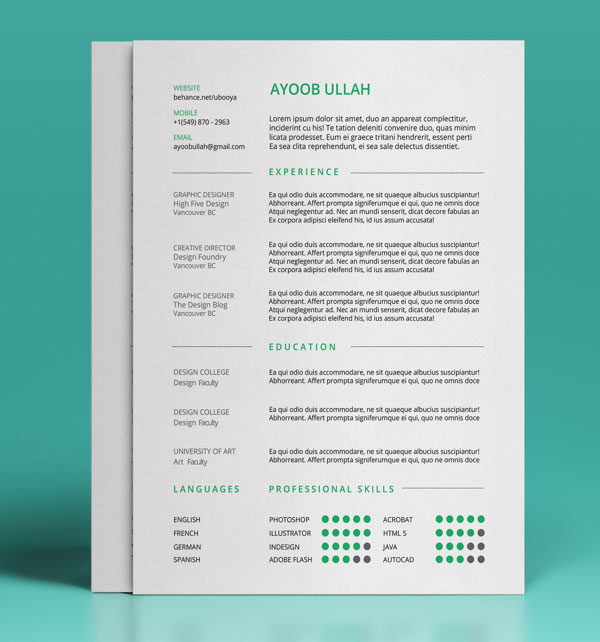 50+ Beautiful Free Resume (cv) Templates In Ai, Indesign
