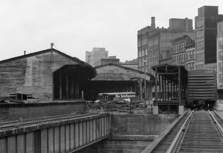 The business end of the B&O Wheeling freight terminal as seen from across Wheeling Creek.