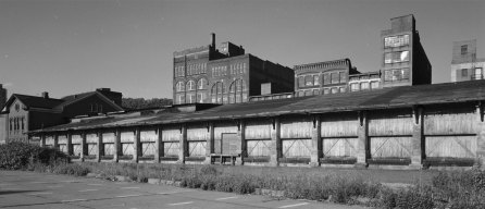 The B&O Wheeling freight house from the Ohio River side.