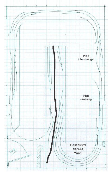 A rough scale drawing of the W&LE Newburgh tracks as an HO scale model railroad.