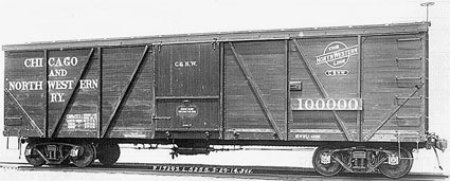 C&NW 40 foot Fowler patent design box car