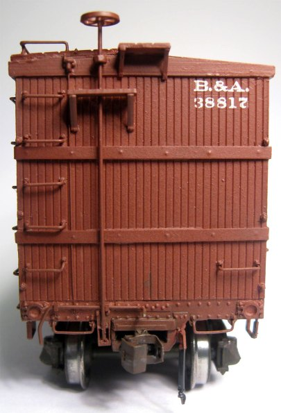 Modified end on the B&A box car model.