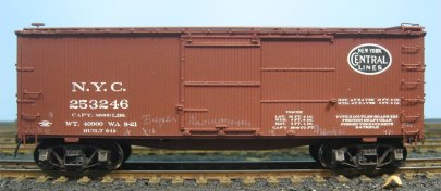 Chalk marks have been applied to this box car.