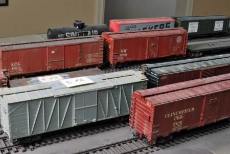 A look at some of the freight cars used in a recent operating session.