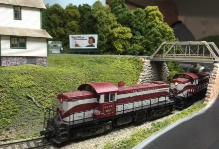 A pair of Susquehanna Alco RS-1 rounds the curve into Pompton Lakes.