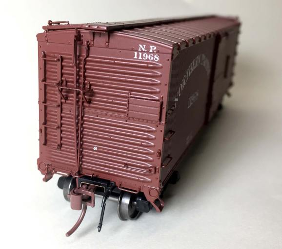 End view of a Rapido HO scale boxcar.