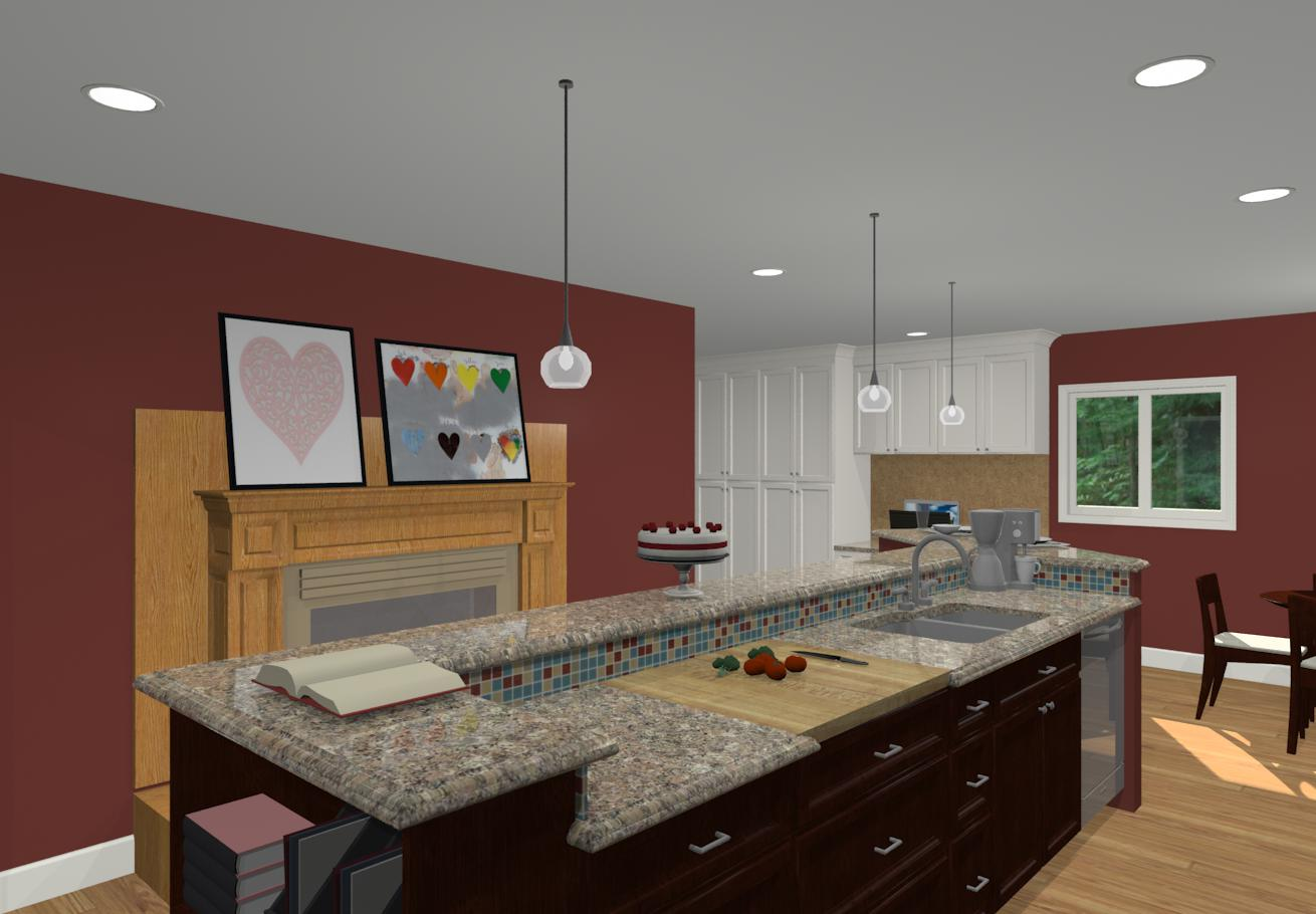 L Shaped Kitchen Family Room Designs