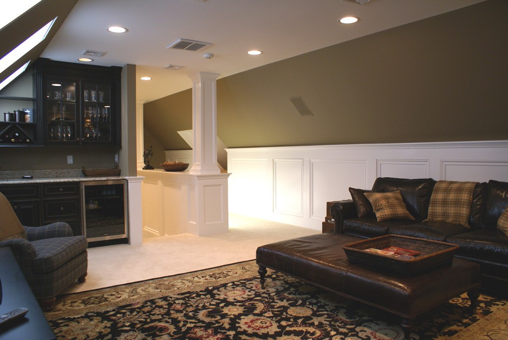 How To Build In A Gas Fireplace Walk Up Finished Attic Space In Nj - Design Build Planners