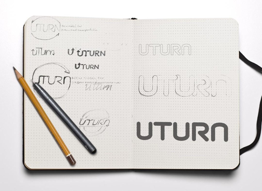 Initial U-Turn sketches shows ideas and thought behind the project