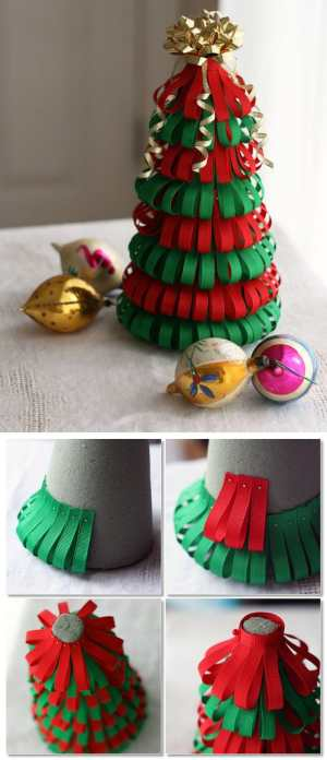 DIY Tabletop Ribbon Christmas Tree | 10 Last Minute DIY Christmas Decorations | Expressing Life