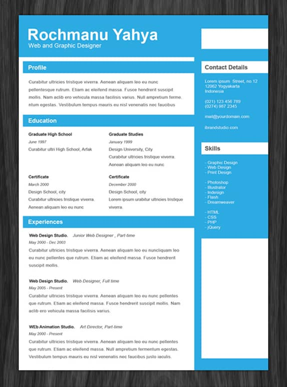 free resume template professional one page resumes