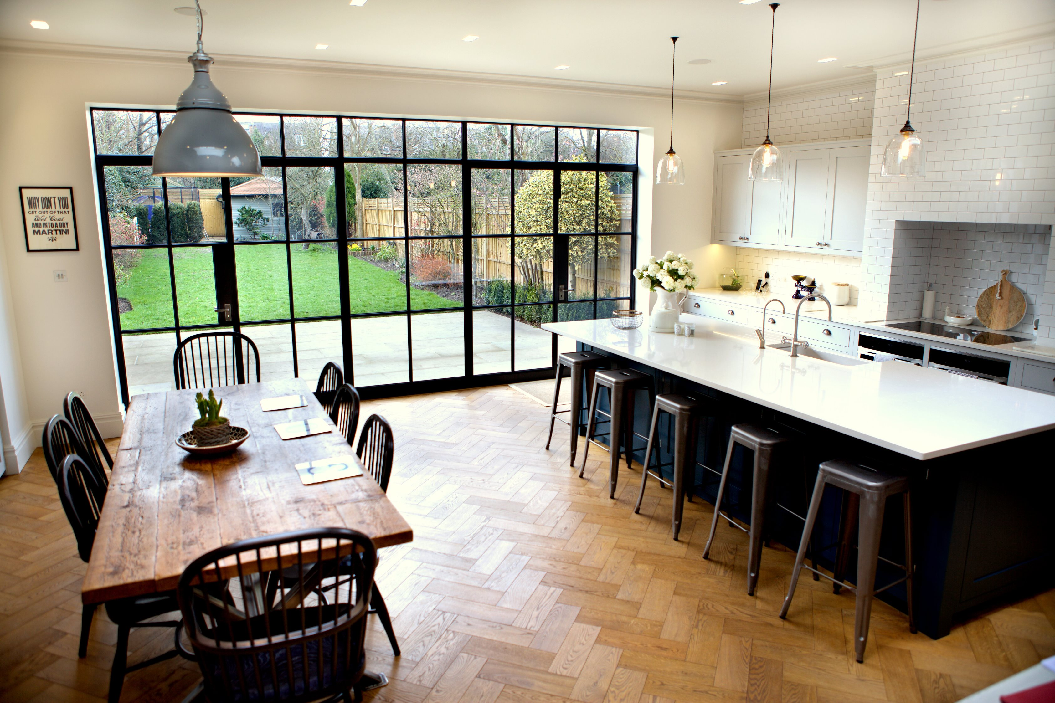 Steel windows bring industrial style to domestic extension for Metal windows