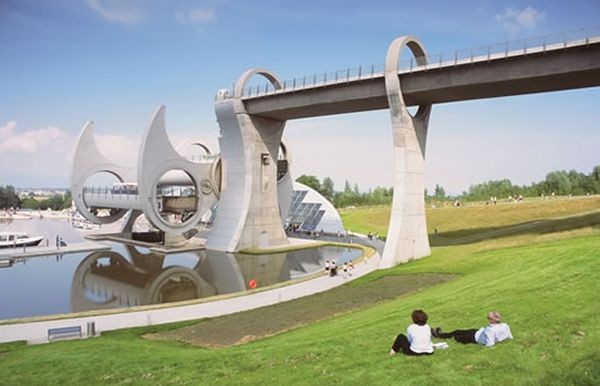 The Falkirk Wheel is a rotating boat