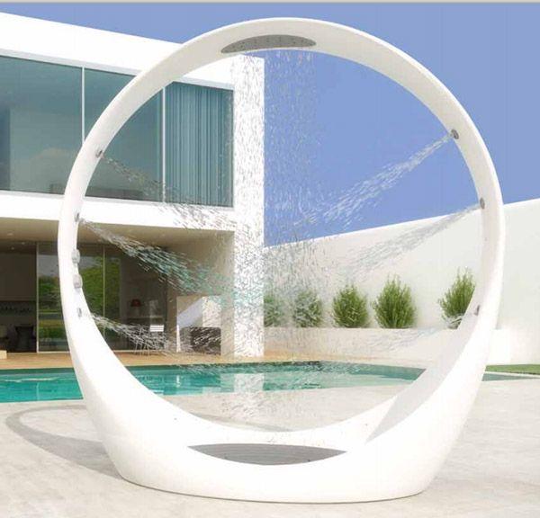 Circular outdoor shower