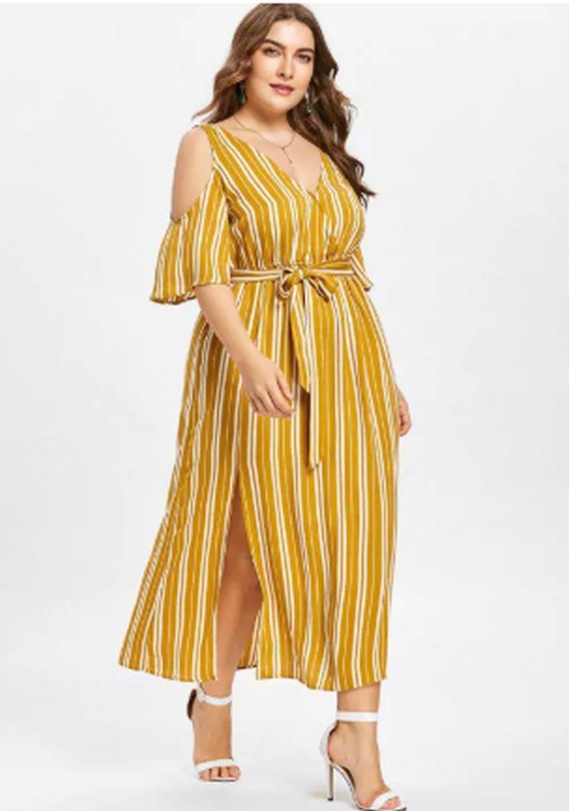 Plus Size Striped High Split Dress