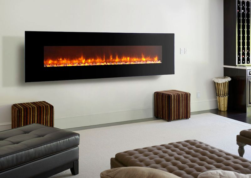 A wall mounted indoor electric fireplace