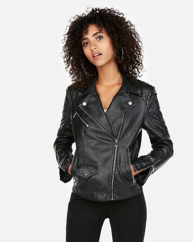 Express (Minus The) Leather Double Peplum Jacket