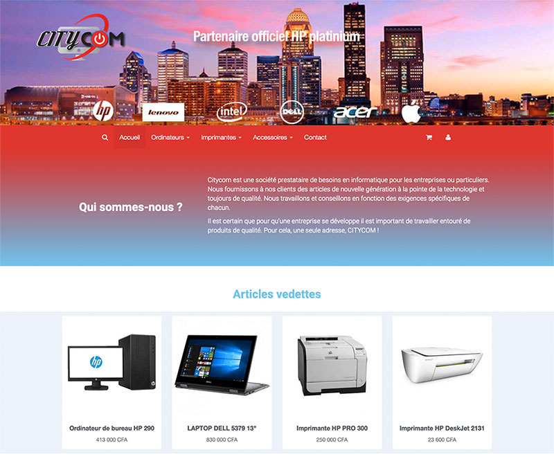 site citycom – Design by Chelty, Agence web à Abidjan