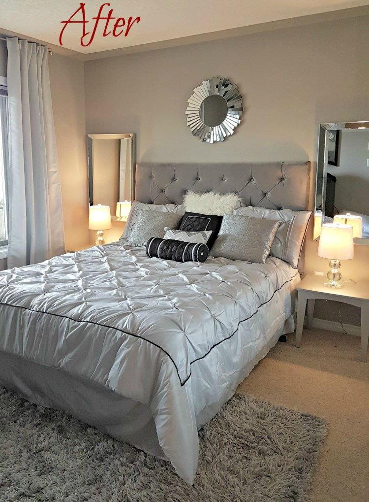 Master Bedroom reno, condo reno, reveal, Wayfair bedding, staging