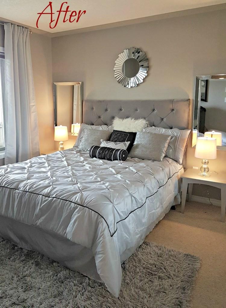 Master Bedroom reno, condo reno, reveal, Wayfair bedding, staging
