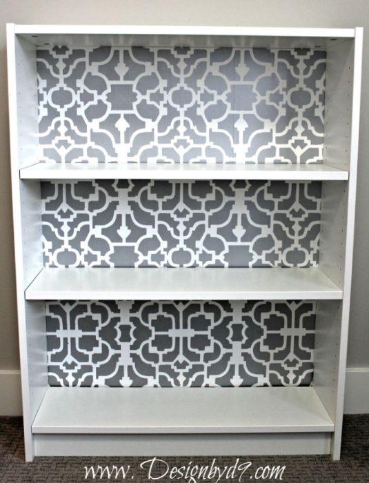 Ikea billy bookcase stencil hack