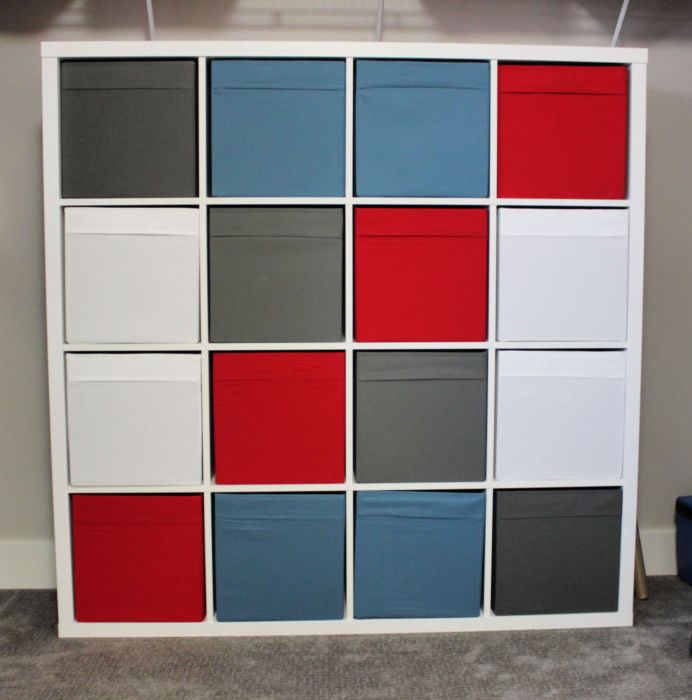 My Ikea Kallax poses as a Rubik's cube