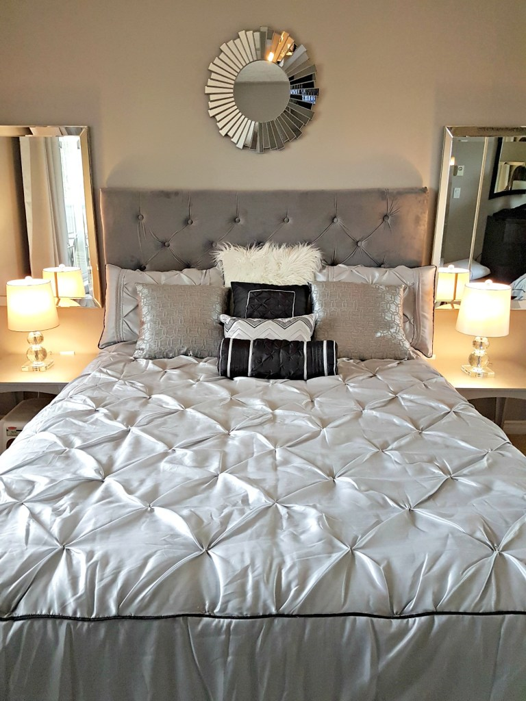 DIY Diamond tufted headboard, Hampton House bedding, Greg's Condo, Wayfair bedding