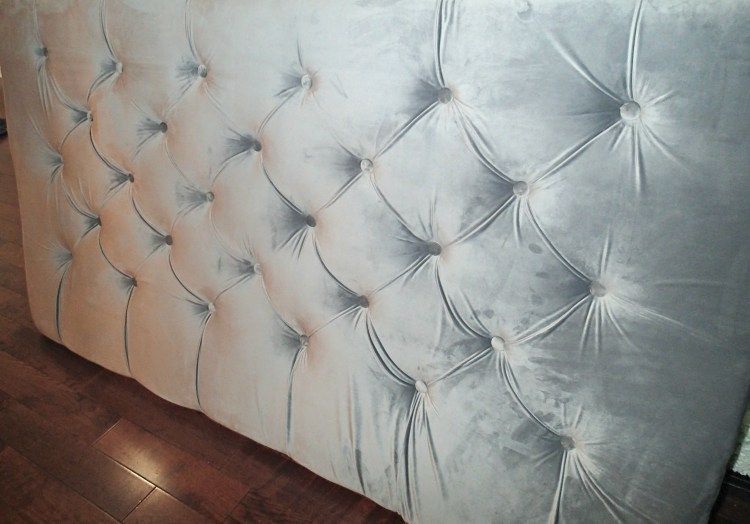 diamond tufted headboard|master bedroom| DIY Tufted headboard|tufted headboard|Velvet headboard|grey head board, greg's condo
