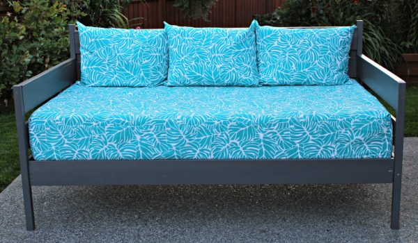 you can make diy outdoor cushions to pull together different pieces. Add a splash of colour to your outdoor furniture