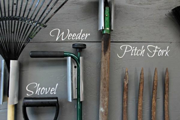 garden tool storage. garden tool storage wall. shed tool storage. labelled tool storage with cricut