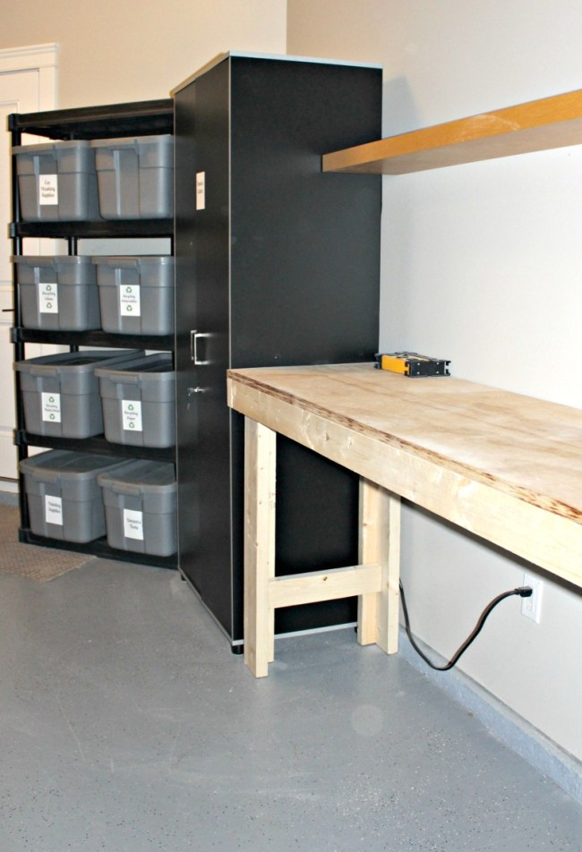 Super easy DIY workbench you can make in an afternoon, using plywood and 2 x 4's