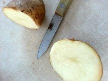 cut the potato in half.
