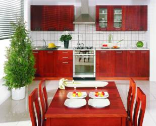 Feng-Shui-kitchen-with-red-wood-furniture