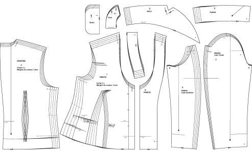 Esses são os moldes necessários para a confecção de um modelo simples de blazer.