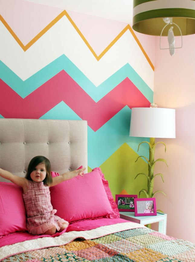 Estampa Chevron decorando quarto infantil