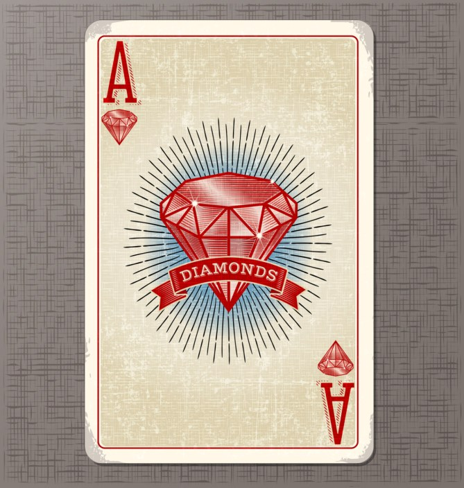 vintage playing card vector illustration of the ace of diamonds