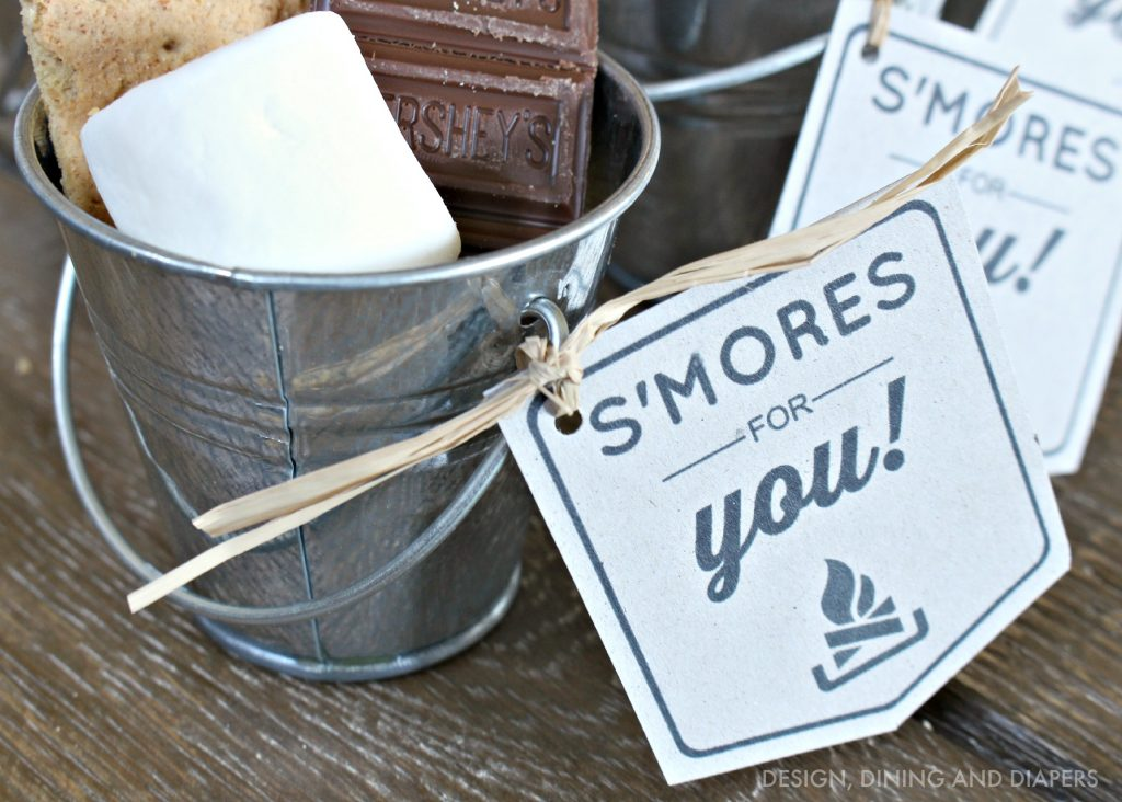 Beach Pail Party Favors Saying Thank You For Coming: DIY S'mores Kit With Free Printable