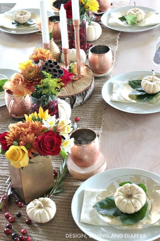 Thanksgiving Table Setting with earth tones and metallics