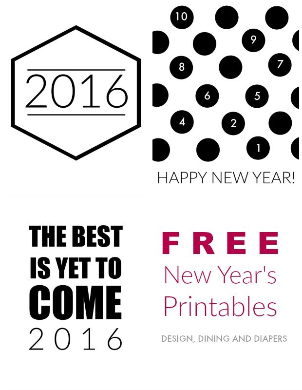 Free 2016 New Years Printables