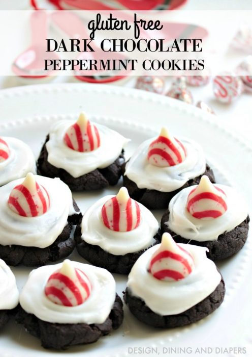 Gluten Free Dark Chocolate Peppermint Cookies with Hershey's Kisses Candy Cane Candies - YUM!