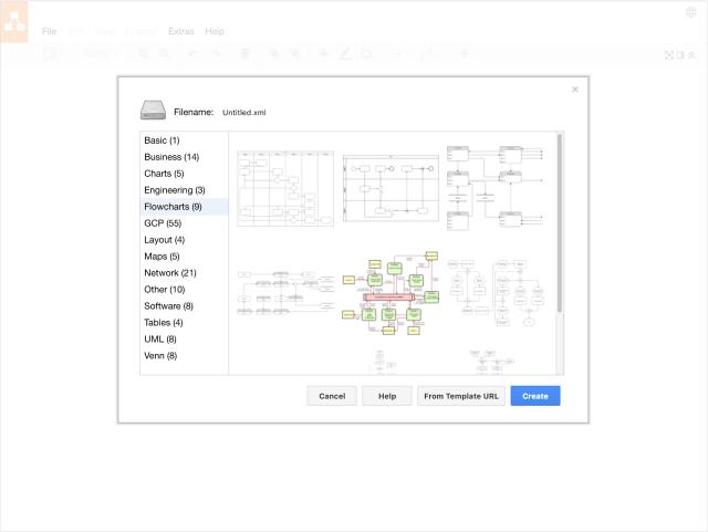 """V Draw.io si můžete vybrat z nejrůznějších šablon, případně začít s prázdným """"plátnem"""""""