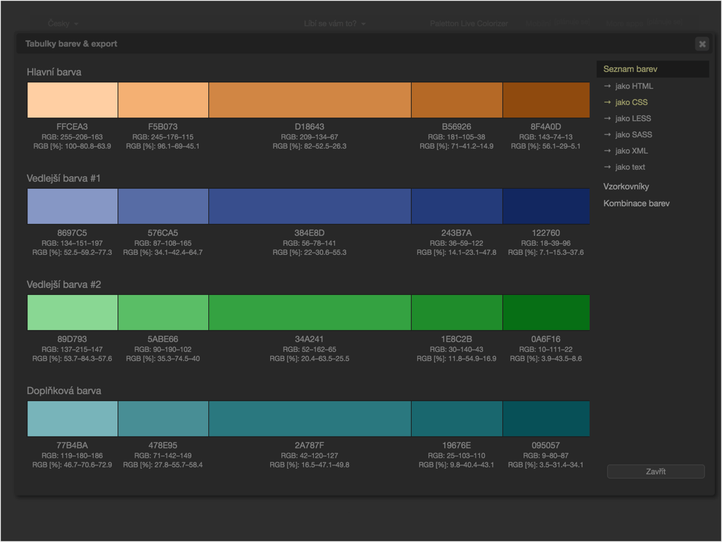 Výběr barev v nástroji Paletton