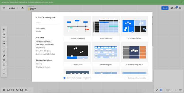 Realtimeboard nabízí spoustu šablon pro efektivnější práci.